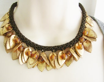 Vintage gold autumn leaf cocktail necklace/ choker with orange accent beads (T)