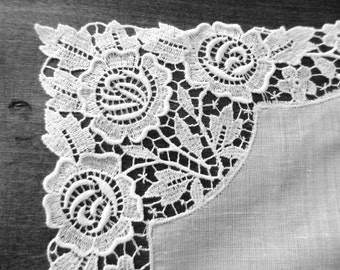 Bridal White Lace Edged Handkerchief with 4 corners of Lace