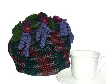Dome Tea Cosy, Crochet Tea Cosy, Floral Tea Cosy in purple, dark red & forest green, OOAK Tea Cosy, Tea Cozy