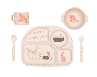 Bamboo Dinnerware - Woodland Tea Party - (FDA & LFGB food safe approved)