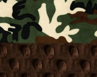 42 x 55 Minky Baby Blanket,  Personalized Camo Green Brown Crib size