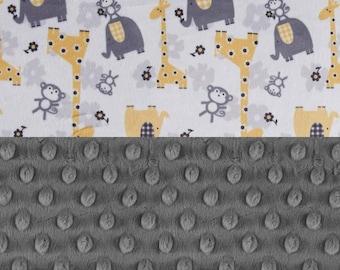 Animal Minky Baby Blanket,  Personalized Baby Blanket Boy - Charcoal Gray Yellow Elephant Giraffe Stroller Blanket - Nursery Decor Girl