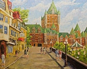 Original Oil Painting - Chateau Frontenac Promenade Quebec City created by Prankearts