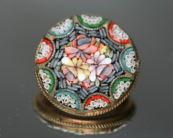 Vintage Micro Mosaic Brooch - Italy