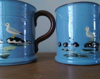 Vintage Torquay Pottery Mugs.  Summer Scene with Seagulls.  Ocean.