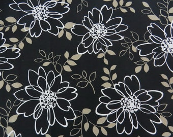 2521E - Large Flower and Leaf White in Black, Retro Big Flowers Fabric, Floral Fabric