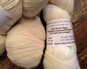 British Alpaca/Merino/Nylon SW sock weight yarn - 100 grams