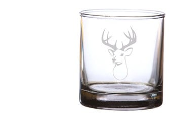 Widow Maker Deer Head Etched Whiskey Glasses - Set of 2