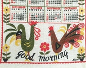 Vintage Linen Calendar Towel 1966 Roosters Chickens Kitchen Wall Hanging GOOD MORNING!