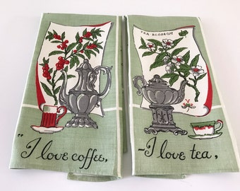 Vintage Linen Kitchen Towels I Love Coffee and Tea Towels FREE US Shipping Lot of 2