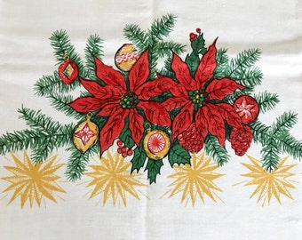Vintage CHRISTMAS Tablecloth Linen Table Cloth Poinsettia Shiny Brites Ornaments Atomic Stars