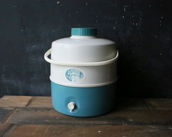 Thermos Water Jug Very Large Teal and White Vagabond From Nowvintage on Etsy