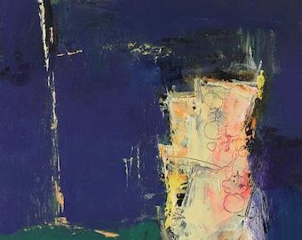Small Box Painting 1142 - Original Oil Painting - 22.7 cm x 22.7 cm (app. 8.9 inch x 8.9 inch)