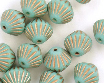 Large Bicone Opaque Turquoise Copper Czech Glass Beads 11mm - 15