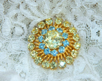 Vintage Rhinestone Brooch Prong Set Bright Clear Light Yellow and Blue Gold Tone Setting