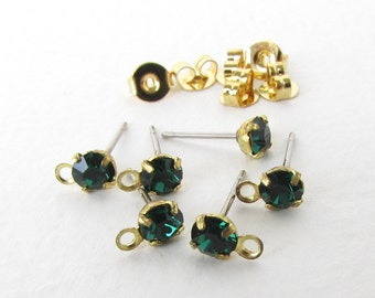 Vintage Earring Post Earwires With Emerald Green Swarovski Crystal Rhinestone Brass Finding erw0162 (6 pc, 3 pair)