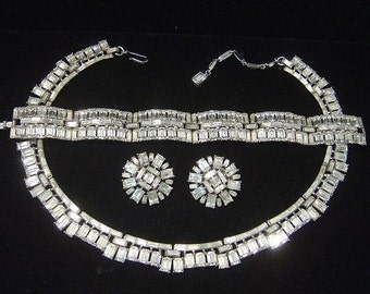 "Vintage TRIFARI ""Vanity Fair"" Necklace Bracelet Earrings baguette rhinestone 1957"