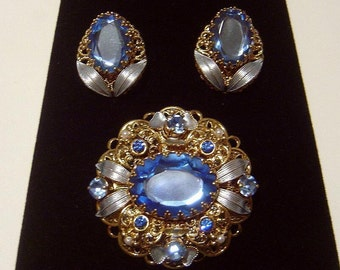 Vintage West Germany Brooch and Earrings Blue glass stone and enameling
