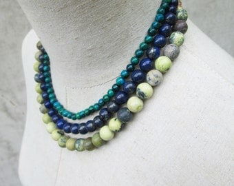 Earth and Sky Necklace, Lapis Blue Azurite Green Chrysoprase Yellow Gemstone Beads