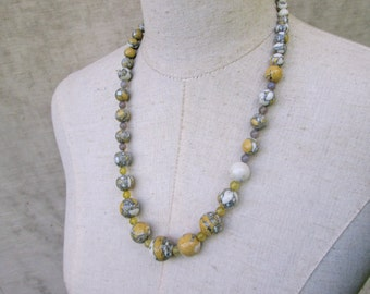 Mustard Yellow and Grey Beaded Chunky Necklace