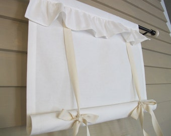 Ruffled Off White Canvas 60 Inch Long Tie Up Shade Custom Made to Order Tie Up Curtain Swag Balloon Modern Farmhouise Simplicity Simple