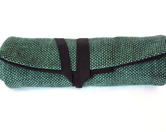fabric pen roll - green and black cotton tweed - 8 slots for markers, pens, pencils, brushes, and more