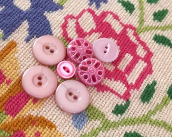 7 shades of pink vintage buttons