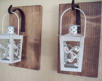 Lantern pair wall decor (2), rustic bathroom Decor, wall sconces pair, lantern set, wrought iron hook, rustic wood boards
