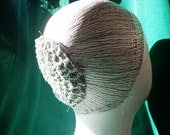 Hair Bun Cover Silver Sparkle Crocheted Hair Net in Vintage Pattern