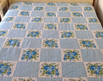 Vintage Full Comforter Coverlet Shabby Blue Rose And Gingham Or Twin Bedspread