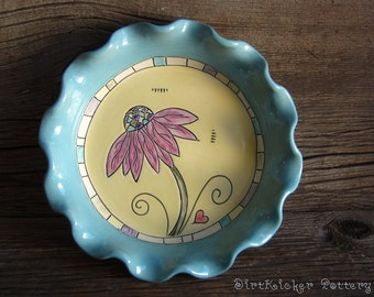 Pottery Pie dish in Turquoise and Yellow - Baking Dish - by DirtKicker Pottery