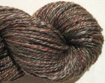 Handspun yarn Autumn worsted weight 2 ply, 224 yards merino wool silk blend maroon yarn olive yarn knitting supplies crochet supplies