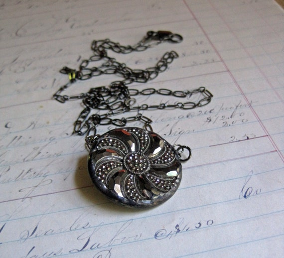 Black Glass Button Bib Necklace with Silver Finish Repurposed Jewelry
