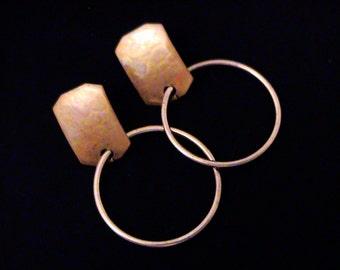 Vintage MARJORIE BAER Modernist Post Hoop Earrings