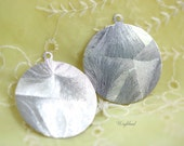 Vintage Silver Toned Round Metal Tag Stamping - 32mm - 8 .