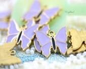 Lavender Vintage Style Butterflies Charms Pendants - 4
