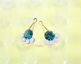 Fan Drops Rhinestone Charms Swarovski Crystals Brass Settings Rose Water Opal & Blue Zircon 11x17mm - 2
