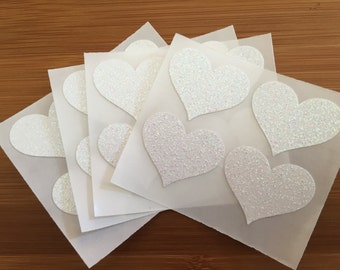 envelope seals - white glitter heart seals - stickers