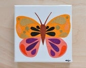 Original Paper Collage on Canvas - Orange Sherbet, Purple & Gold Butterfly - One of a Kind by Megan Jewel
