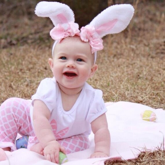 White Easter Pink Bows Bunny Ears Stretch Headband Halloween Costume Prop GREAT PHOTOGRAPHY PROP
