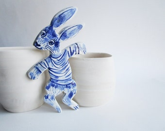 Sale - Rabbit Nursery wall hanging - Hand painted earthenware  Bunny -  Dutch - Blue and white Delftware ornament- personalized