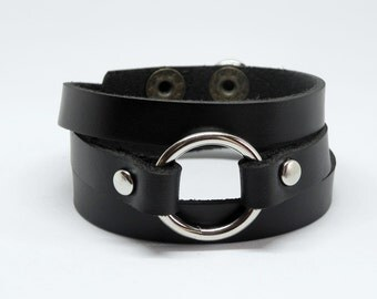 Black Wrap Leather Bracelet Leather Cuff with Metal O Ring Snap Button Clasp