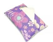 Floral Pocket Tissue Holder Travel Tissue Cover Retro Flowers Lilac Lavender Makeup Purse Accessory Tissue Holder plus Free Tissue