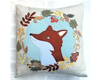 Country Fox Applique Cushion or Pillow Cover digital sewing pattern