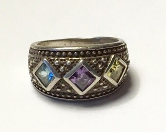 Three Gemstone Sterling Ring Peridot Amethyst Blue Topaz Size 6 1/4