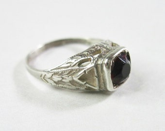 Antique Art Deco Sterling Silver Filigree Ring - Red Glass Stone - Size 9 - 1920s