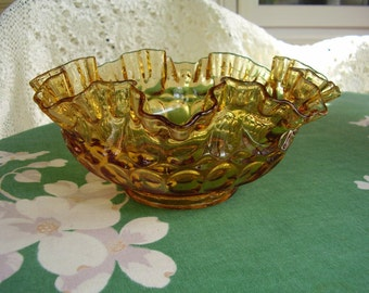 Vintage Fenton thumbprint ruffled bowl, amber glass