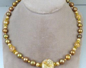 Cloisonne Faux Peal Necklace