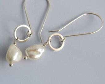 White Keshi Freshwater Pearl Earrings Sterling Silver Dangle Drop Earrings