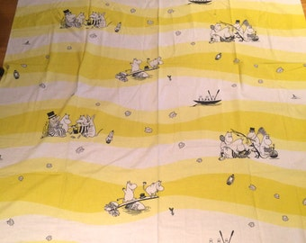 "Moomin 2 yards yellow Cotton Fabric for various projects, 2 yards, 56"" wide,Finland"